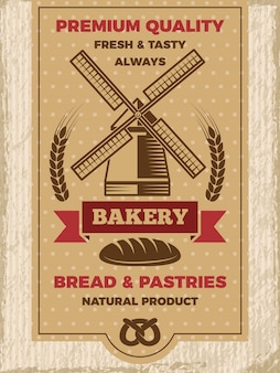 Старинный плакат для пекарни магазина. шаблон с местом для вашего текста