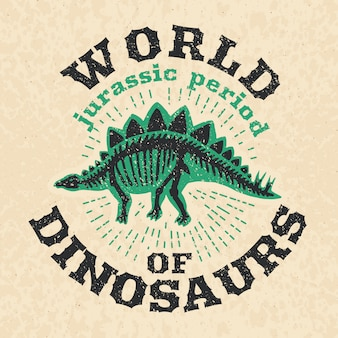 Vintage poster of fossil bones of dinosaur.