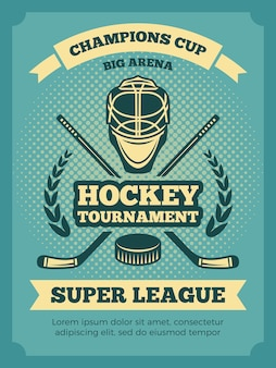 Vintage poster of hockey championships. banner hockey game, competition tournament illustration