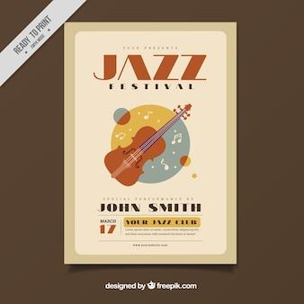 바이올린과 재즈 축제의 빈티지 포스터