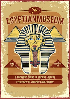 Vintage poster of a a pharaoh and pyramids