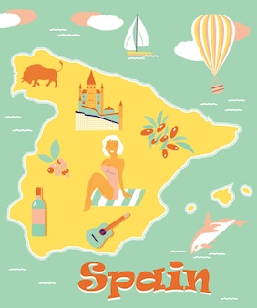 Vintage poster of spain with attractions and landmarks. can be used for tourist prospects, leaflets etc.
