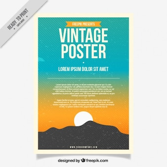 Vintage poster of sunset