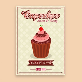 Vintage poster template with tasty cupcake