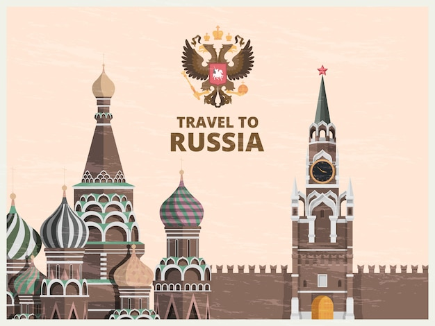 Vintage poster or travel card with kremlin russian cultural landmarks