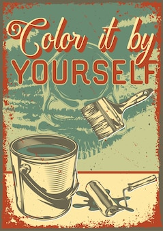 Vintage poster with illustration of a bucket with paint and brushes