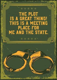 Poster vintage con illustrazione di manette