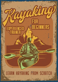 Vintage poster with illustration of a man in kayak