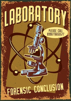 Poster vintage con illustrazione di un microscopio e un atomo
