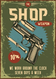 총과 그 부품의 일러스트와 함께 빈티지 포스터