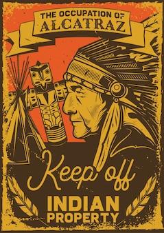 Винтажный плакат с изображением индейца, тотема и вигвама