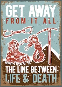 ハイキングシューズと装備のイラストとビンテージポスター