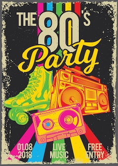 롤러 스케이터, 카세트 및 라디오의 일러스트와 함께 빈티지 포스터