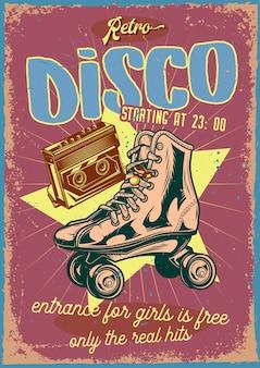 Винтажный плакат с иллюстрацией роликовых коньков и кассеты