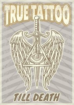 Старинный плакат с изображением крыльев и меча