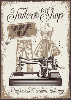 Vintage poster with illustration of a pants, mannequin and sewing machine