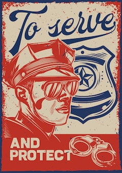 Vintage poster with illustration of a policeman and a police sign