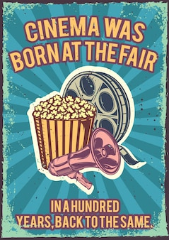 Vintage poster with illustration of a popcorn bucket, a megaphone and filmstrip