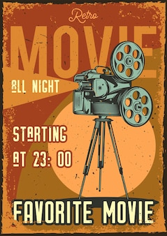 Vintage poster with illustration of a projector