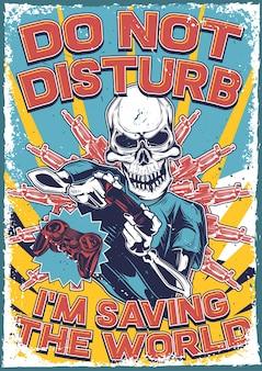 Poster vintage con illustrazione di uno scheletro con un joystick nelle sue mani