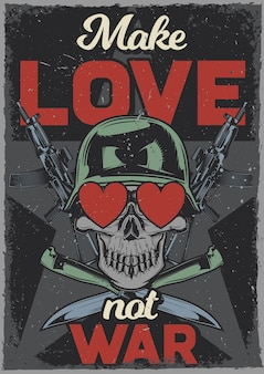 Vintage poster with illustration of a skull with hearts in its eyes, ak-47 and knives