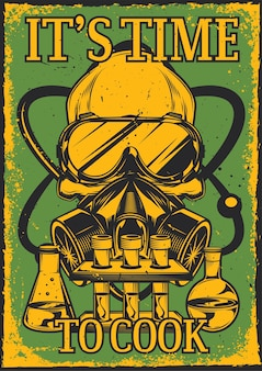 Vintage poster with illustration of a skull with respirator and glasses on, flasks and an atom