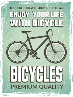 Vintage poster with monochrome illustration of bicycle.