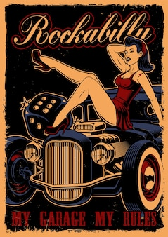 Винтажный плакат с булавкой девушкой и хотродом на темном фоне спины. текст находится на отдельном слое.