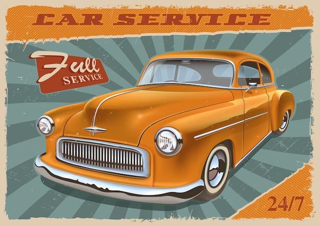 Винтажный плакат с ретро-автомобилем. старинный металлический знак для гаража. текст находится в отдельной группе и легко удаляется.