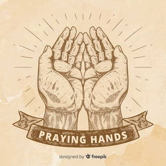 Vintage praying hands background