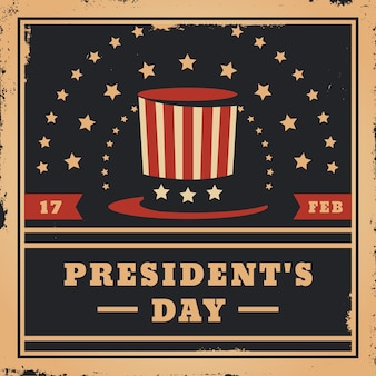 Vintage president's day and top hat with stars