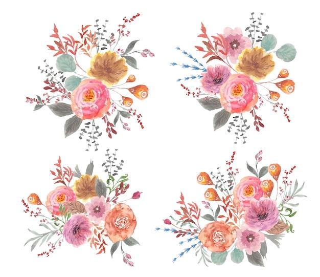 水彩でヴィンテージのかわいい花の花束コレクション