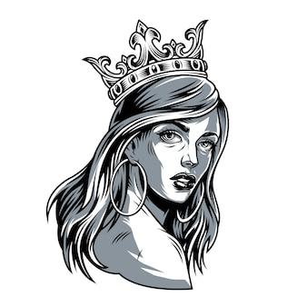 왕관에 빈티지 예쁜 여자