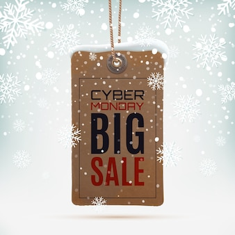 Vintage price tag on winter background