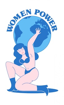 Vintage print design with naked strong beauty woman who keep the planet and feminism slogan