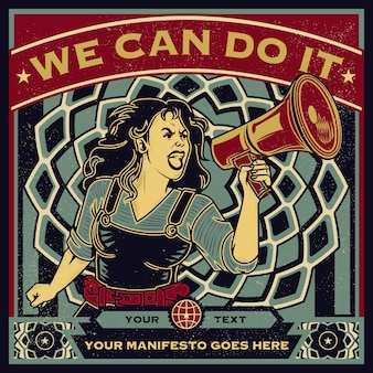 Vintage propaganda poster and elements of female power, woman rights, protest and feminism