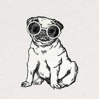 귀여운 선글라스와 함께 빈티지 퍼그 강아지 스티커