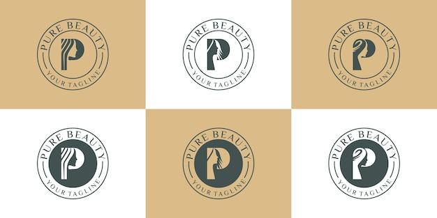 文字pデザインのインスピレーションとヴィンテージの純粋な美しさのロゴ