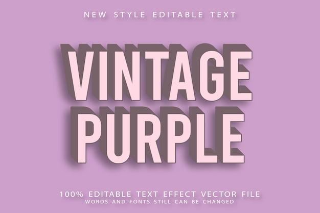 Винтажный фиолетовый редактируемый текстовый эффект с тиснением в винтажном стиле