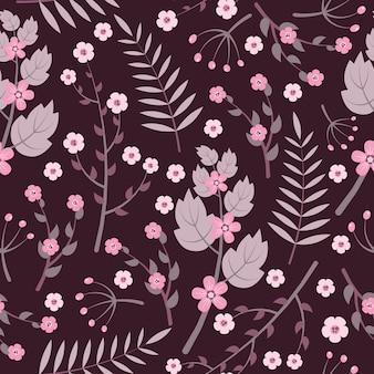 Vintage purple flowers seamless pattern on dark background
