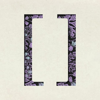 Tipografia simbolo vintage viola parentesi sinistra e destra