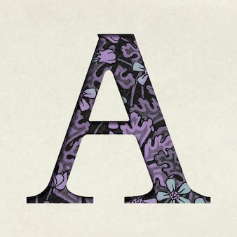 Vintage purple letter a typography
