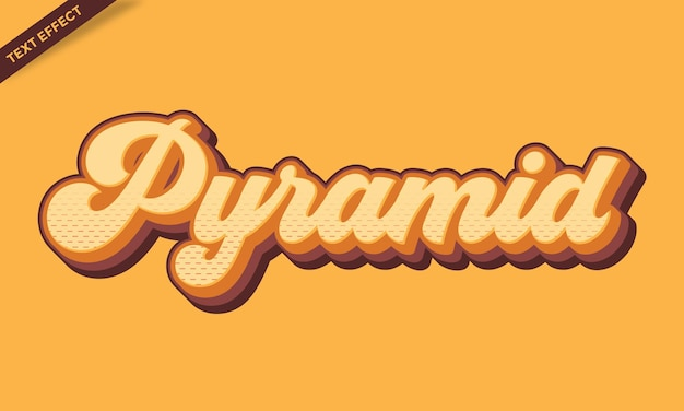 Vintage pyramid orange text effect design