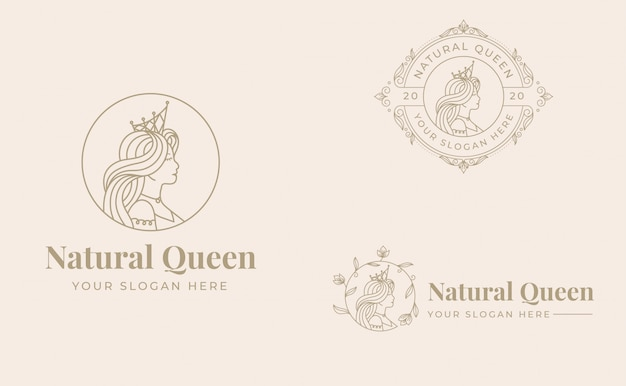 Vintage queen logo design with badge template