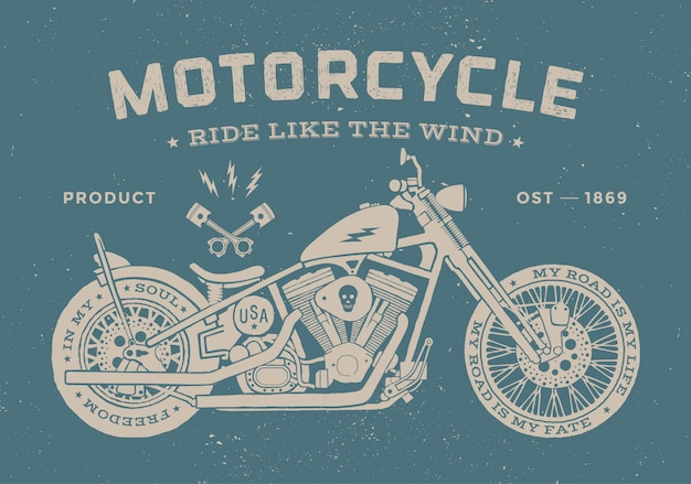 Vintage race motorcycle old school style. vector illustration.