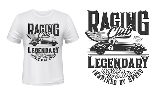 Vintage racing car t-shirt print
