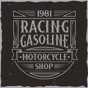 Vintage racing label with lettering composition