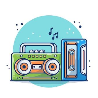 Старинное радио и кассета, изолированные на белом фоне