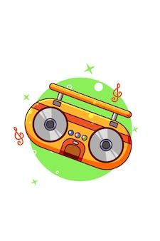 Винтаж радио значок иллюстрации шаржа