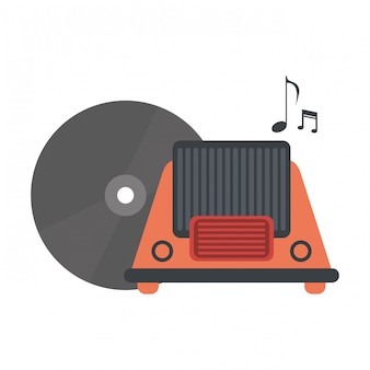 Vintage radio and old vinyl